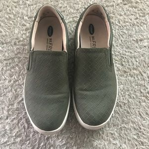 Army Green Slip On Sneakers